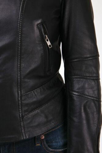 Onorevoli Nero Matt REAL LEATHER JACKET Look Vintage doppia cerniera colletto rimovibili