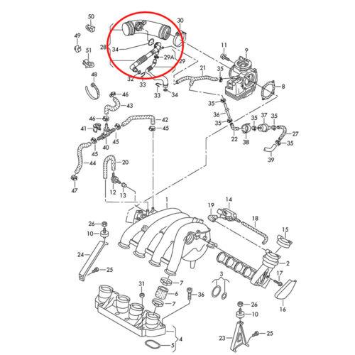 Manguera de aire filtro aire manguera de entrada de manguera tubo VW Passat 3b b5 superb 2.0