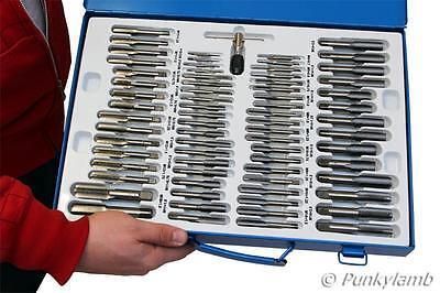 110 Pc Metric Plug and Taper Tap and Die Set Alloy Steel Garage Workshop Tool
