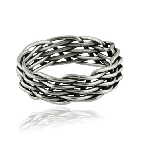 925 Sterling Silver Unisex 6mm Woven Band Sizes 6-9 NEW Basketweave Ring