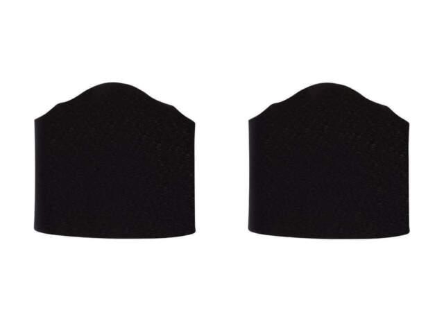 Black Fabric 6 Inch Wall Sconce Shield Lamp Half Shades Set of 2