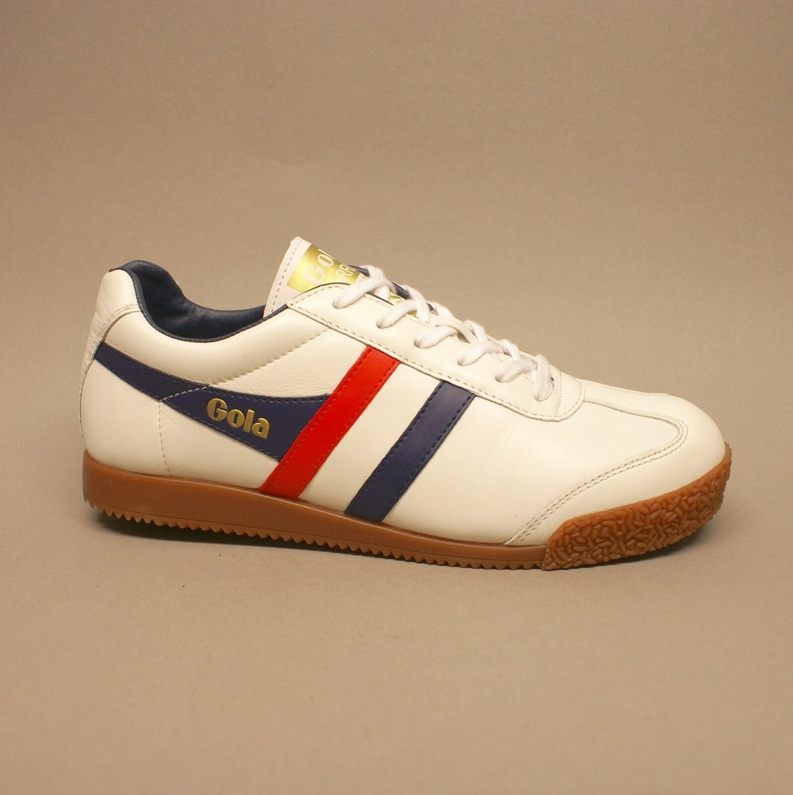 Gola Harrier Leather CMA192 White Navy Red Turnschuhe Sneakers Leder weiß