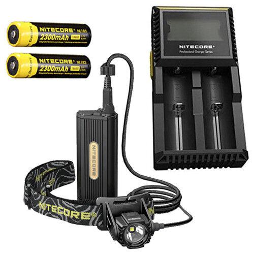 Nitecore HC70 Linterna Recargable con 2x NL183 2300 Cargador mAh Baterías y D2 Cargador 2300 bdbdc9