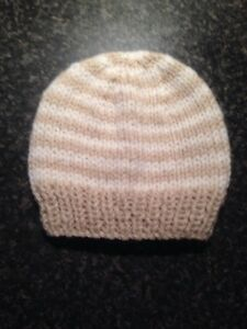 Hand Knit Baby Boy Girl Hat Baby In Fawn And Cream Stripe 0 To 3 Months - Lancashire, United Kingdom - Hand Knit Baby Boy Girl Hat Baby In Fawn And Cream Stripe 0 To 3 Months - Lancashire, United Kingdom