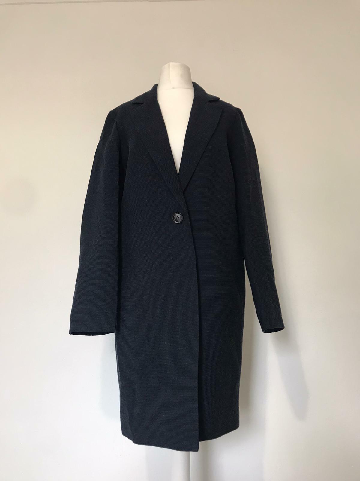 Mint Velvet Coat Size 6 Blue Relaxed Single Breasted Throw On Lightweight Coat