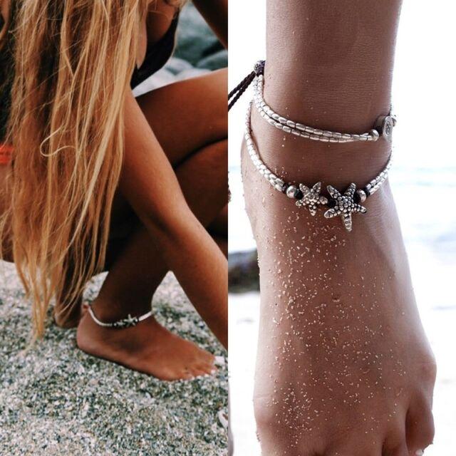 Fußkettchen Perlen Fußkette Fußschmuck Arm Silber mit Seestern o. Münze Anhänger