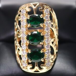 Hand-Carved-5-Ct-Green-Emerald-Oval-Ring-Engagement-Wedding-Rose-Gold-Plated