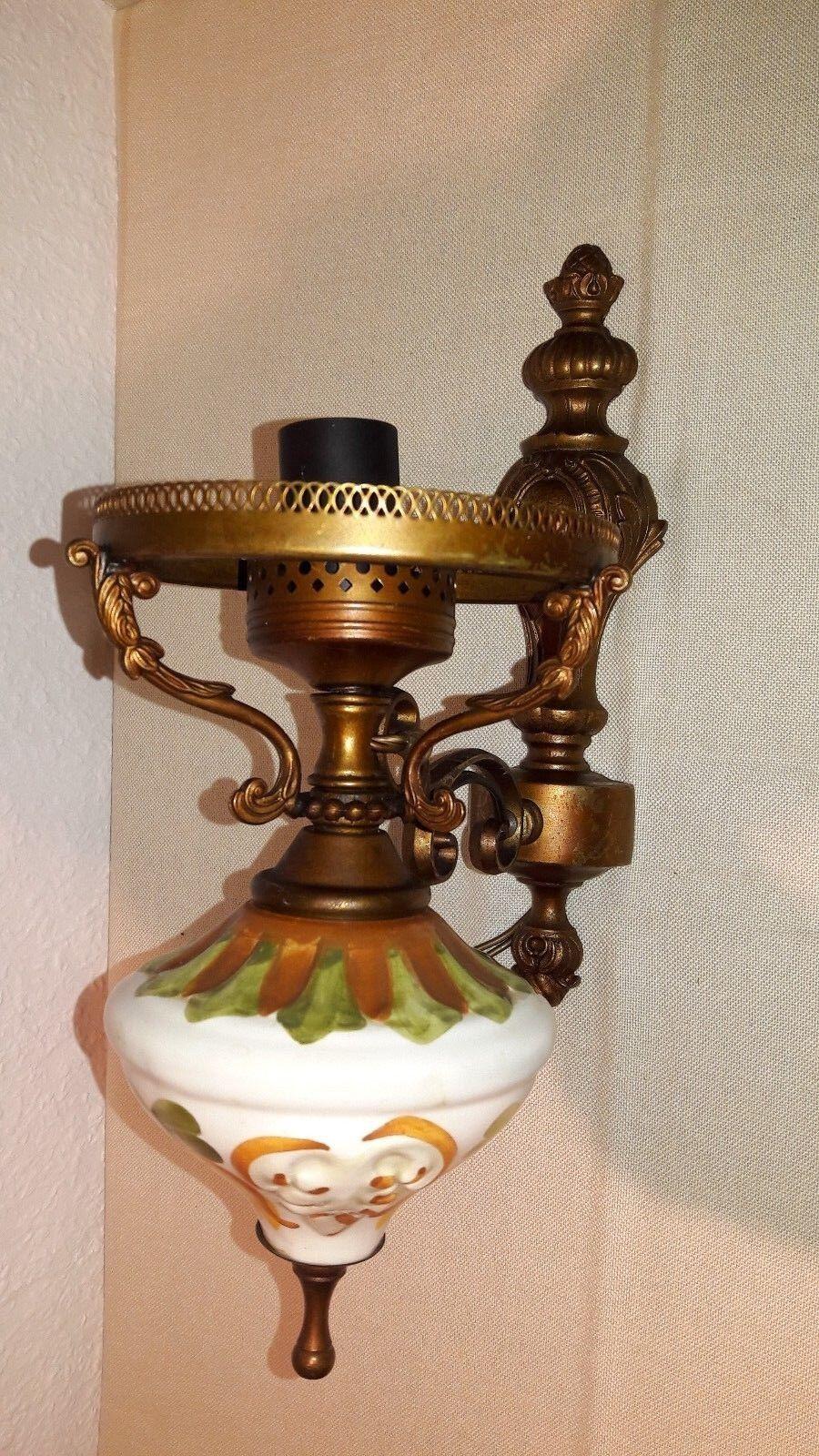 Antik Wandlampe Wandleuchte Messing Porzellan Bauhaus Stil