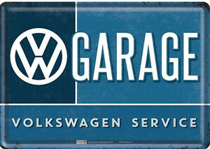 Nostalgique Type Carte Postale en Tôle / Métal VW Garage Volkswagen Service