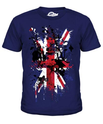UNION JACK ABSTRACT PRINT KIDS T-SHIRT GREAT BRITAIN FLAG UK UNITED KINGDOM TOP