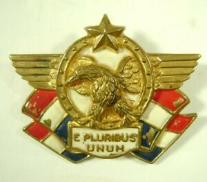 WWII-Patriotic-Pin-Enamel-Brooch-Accessocraft-Kay-Dunhill-USA-Home-Front-Eagle
