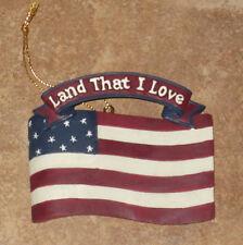 "Patriotic Christmas Ornament American Flag ""Land That I Love"""