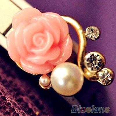 Korean Style OL Rose Flower Gorgeous Crystal Rhinestone Pearl Stud Earrings B59U