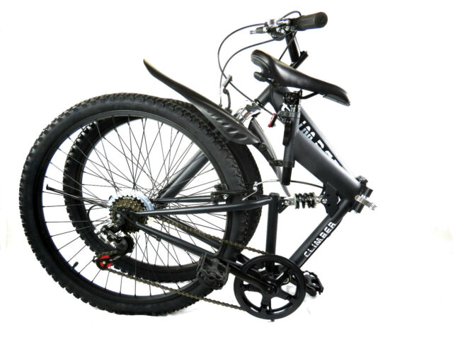 "26"" FOLDING Mountain Bicycle FOLDABLE BIKE Cycling 6 Speed SHIMANO Alloy BLACK"