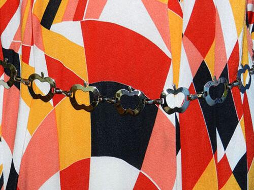 A84✪ 60er 70er Jahre Apfel Ketten Gürtel Disco Revival Woodstock silber