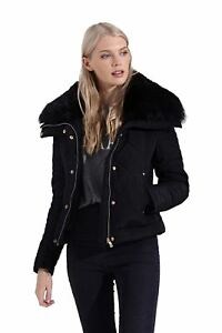 Black Fur Faux Winter Womens Short Lined Bomber Jacket Padded an17x7pg