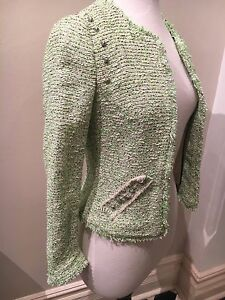 e4489bdc Brand New Sold Out ZARA Neon Green White Tweed Boucle Stud Jacket ...
