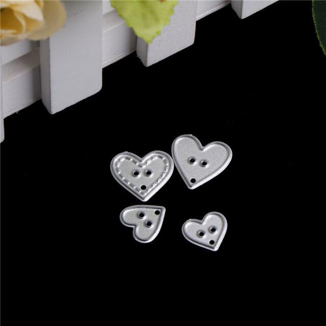 4pcs Heart Button scrapbooking photo album decor Metal Stencil cutting die BR