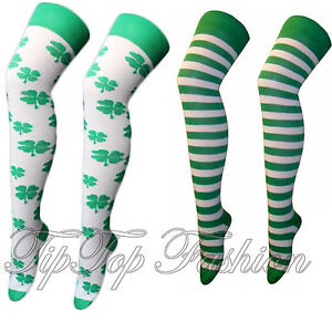b0f16411 Details about New Girls Ladies Over Knee High Socks St Patricks Football  Clover Shamrock Irish