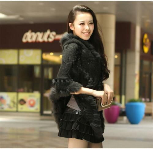 Women Rabbit Fur Sweater Coat Knitted Pullovers Loose Cape Poncho Warm Coat New