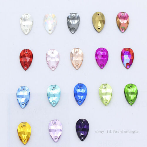 48p 7x12mm Color Teardrop Sew on faceted Glass Rhinestones FlatBack jewels Craft