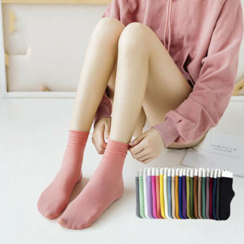 Women Crew Socks Spring Summer Thin Solid Candy Color Ankle Sock Short Socks