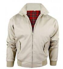 Mens Relco Classic Harrington Jacket/ Coat Mod Tartan Check Lining Beige XL