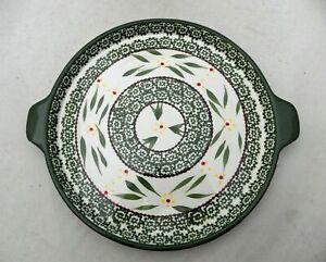 Temp-Tations-by-Tara-Old-World-Green-Large-Round-handled-Serving-tray-New