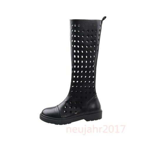 Damenschuhe Chunky Low Heel Reitstiefel der Wadenmitte Hollow Out High Top Cos