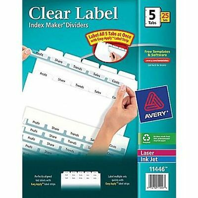 Avery Index Maker Clear Label Tab Dividers 5 Tab White 22 Sets