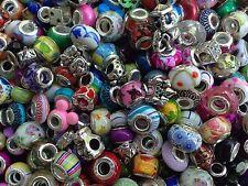 40pcs Mixed Pieces Colorful European Bracelet Charms Beads Glass Sliders Lot