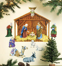 Wallies CHRISTMAS NATIVITY wall stickers 12 decals holy manger baby Jesus animal