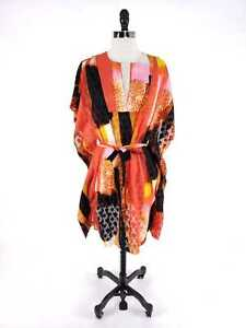 Natori-NWT-Women-XS-Dress-Caftan-Bold-Vibrant-Patchwork-Belted-Floral-Embossed