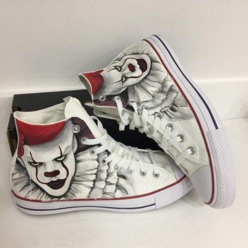 Il Pagliaccio It Handmade Scarpe Paint Converse Horror Film Disegnate U Star All Ca7tEwxRqB