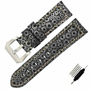 Thick-Snowflake-Genuine-Leather-Watch-Band-Strap-Pin-Buckle-22-24-26mm-Christmas