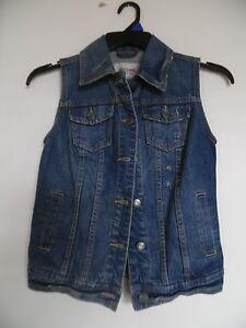 9ebe55f0ab Image is loading Mossimo-Blue-Distressed-Denim-Jean-Jacket-Vest-Women-