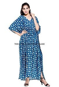 Vestido-Casual-Indian-Maxi-Kaftan-Azul-ndigo-Talla-Grande-Tunica-de-Algodon-Estampado-Floral