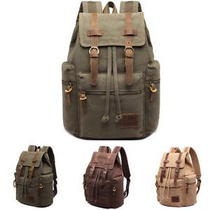 a370567404ea Image is loading Vintage-Retro-Canvas-Backpack -Travel-Sport-Rucksack-Satchel-
