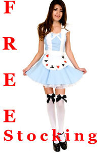 Ladies-Girl-Alice-in-Wonderland-Fancy-Dress-Costume-UK-Size-6-8-10-12-14-16