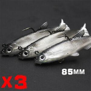 3x 85mm Poddy Soft Plastic Vibe Flathead Fishing Lure Paddle Tail Grubs Jewfish