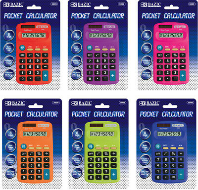 BAZIC 8-DIGIT POCKET CALCULATER WITH COVER BATTERY INCLUDED NEW