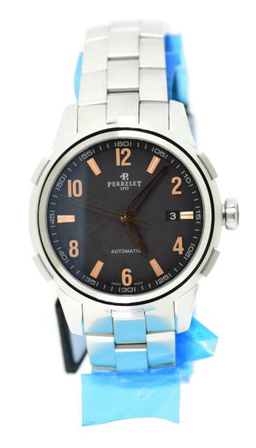 6907da59cea Perrelet Men s 42mm Steel Bracelet   Case Automatic Black Dial Watch ...