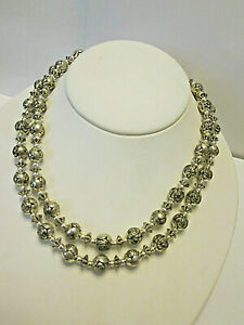 vintage-Necklace-Double-Strand-carved-Rose-beads-silver-tone