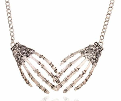 Skeleton Claws Hands Bones Necklace Goth Punk Vintage Statement Metal Rock Retro