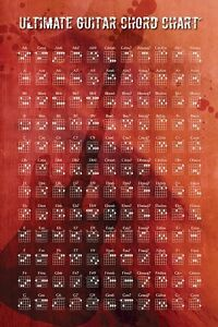 ULTIMATE-GUITAR-CHORD-CHART-24x36-Music-Poster-NEW-ROLLED-Acoustic-Chords