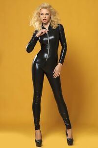 CATSUIT-OVERALL-WETLOOK-Clubwear-Party-GOGO-SCHWARZ-Gr-S-M-36-38