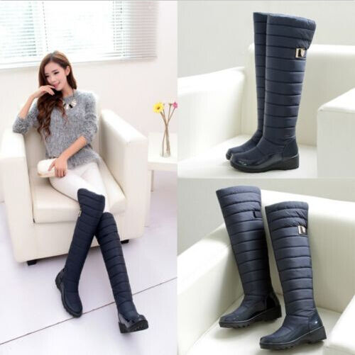 Women's  thick Warm waterproof Over The Knee High Snow  Boots Plus Size