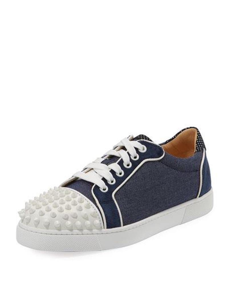 Christian Louboutin VIEIRA Spikes Studded Studded Studded Denim Leather scarpe da ginnastica Flat scarpe  895 7c7ba4