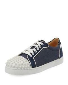 a66afbeaedd Details about Christian Louboutin VIEIRA Spikes Studded Denim Leather  Sneakers Flat Shoes $895