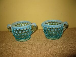 vintage-Fenton-Hobnail-blue-sugar-bowl-creamer-pitcher-glass-handle-chid-set